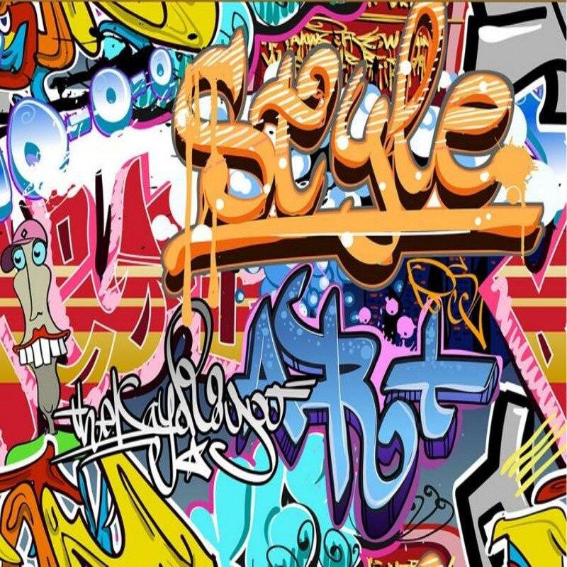 Envío directo personalizado 3d Mural 3D estilo europeo Graffiti papel pintado Mural música salón danza estudio Retro personalidad papel tapiz