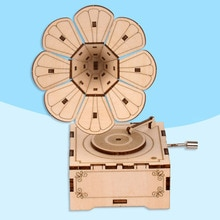 DIY Hand Crank Music Box Model 3D Wooden Puzzle Toy Self embly Wood Craft Kits Home Decoration for K