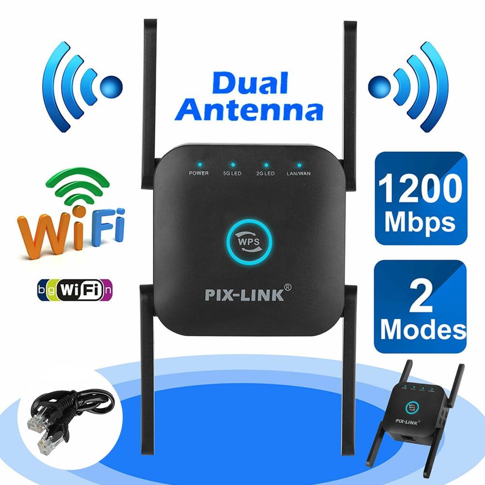 لاسلكي واي فاي مكرر واي فاي الداعم 2.4G/5Ghz واي فاي مكبر للصوت 300/1200 M إشارة واي فاي طويلة المدى موسع نقطة الوصول