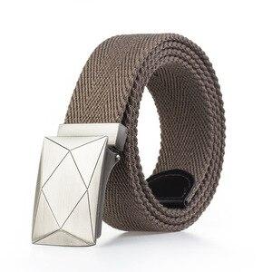 Ремень с гладкой пряжкой из металлического сплава для мужчин и женщин, удобный брезентовый пояс унисекс, для джинсов, темно-белый