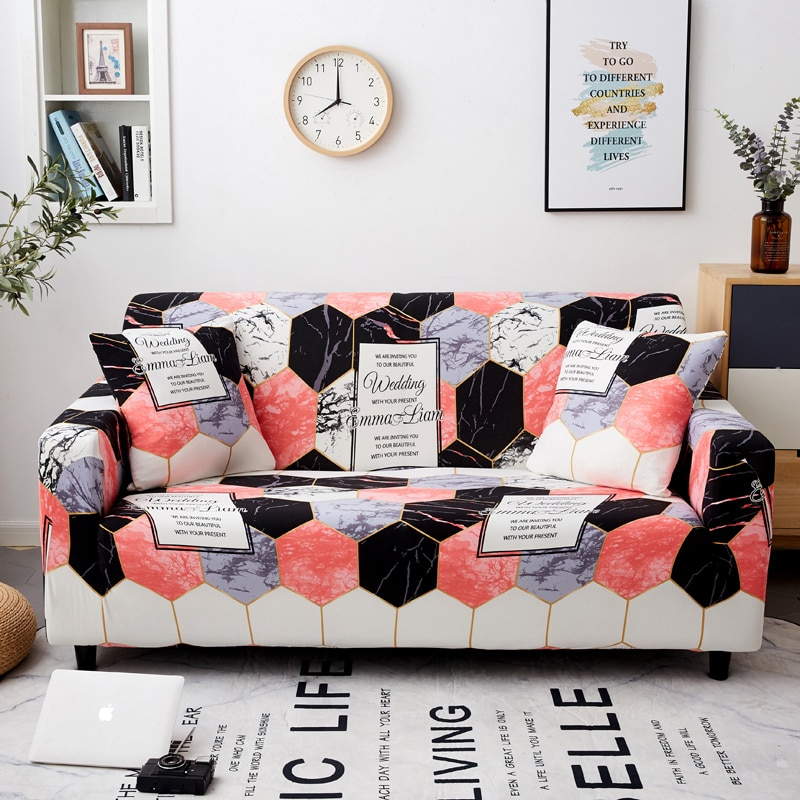 أغطية أرائك منقوشة قابلة للتمدد غطاء منزلق لغرفة المعيشة بمقعدين 1/2/3/4 ، نمط هندسي