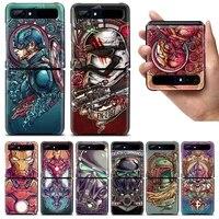 captain america iron man shockproof cover for samsung galaxy z flip flip3 5g black phone case shell hard fundas coque capa