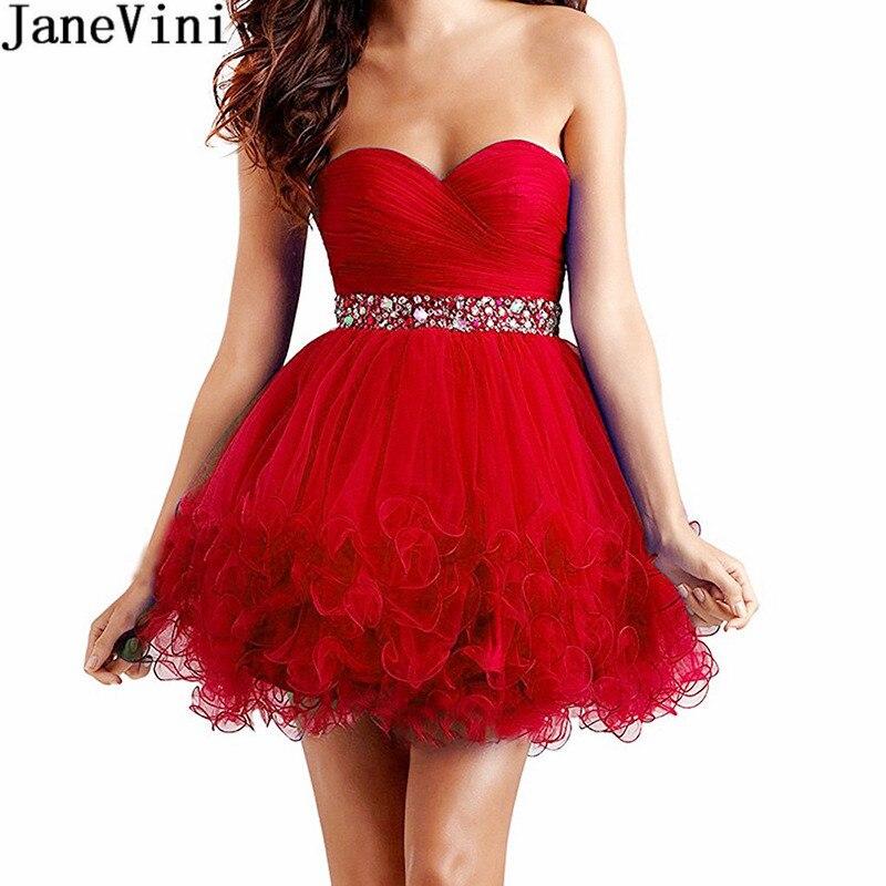 JaneVini الأحمر تول قصيرة فساتين لحفلات الكوكتيل 2020 مطرز مطوي صغير الحبيب امرأة فستان سهرة سهرة czerwona sukienka