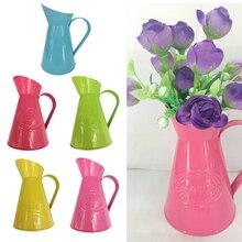 Country Style Metal Vase Flower Pot Jug Holder Wedding Retro Centre Piece 5 Colors Pick