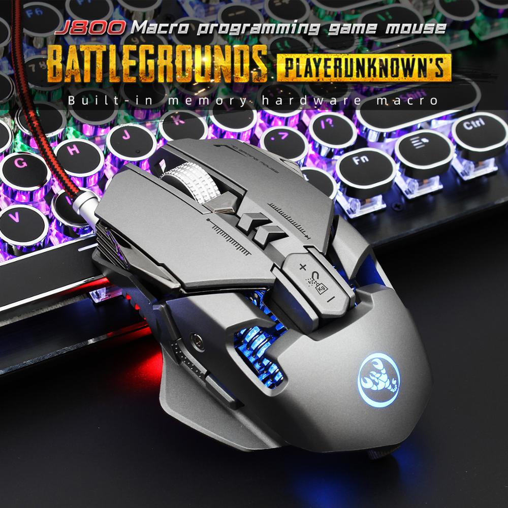 J800 Wired Mechanical Gaming Mouse 6400Dpi LED Variable Backlight Comfort Gamer Mice for Computer Desktop Laptop
