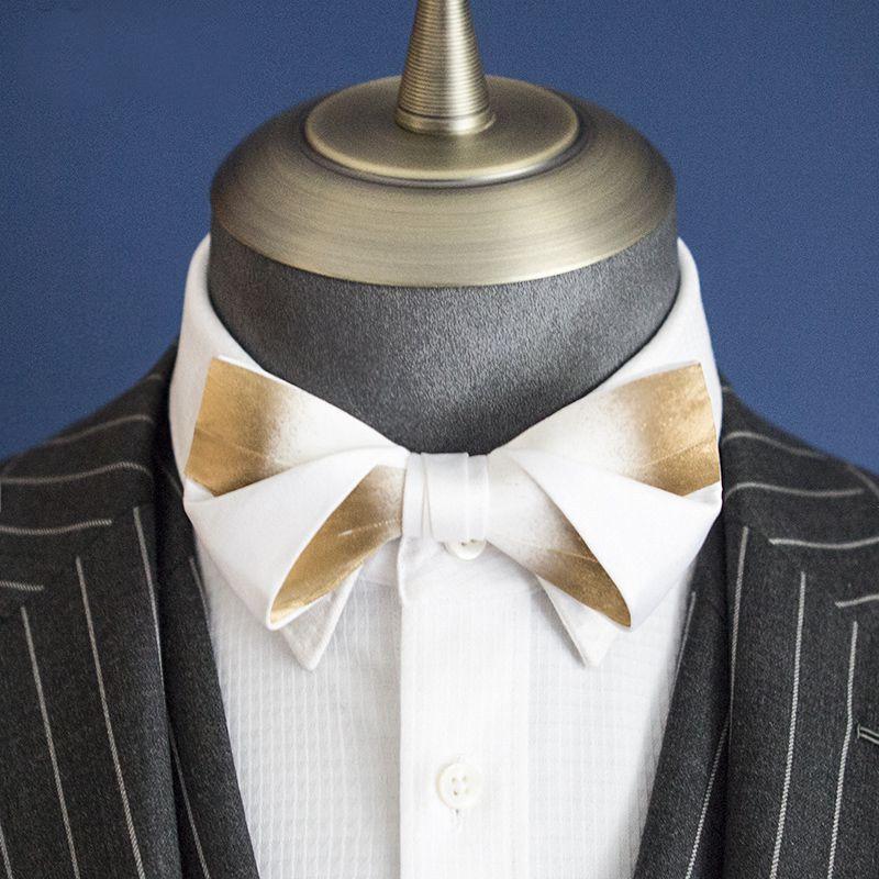 Free Shipping New Male fashion men's Bow tie married women England wedding golden white gradient handmade feathers retro British