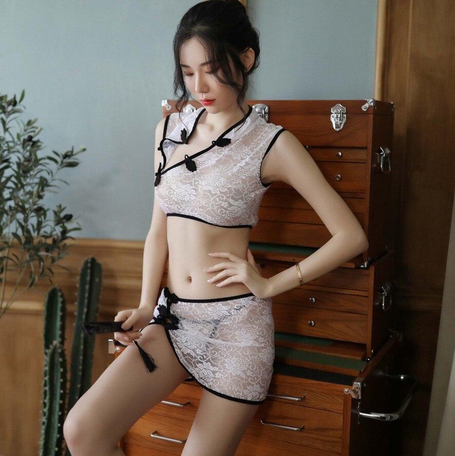 Danevgle mujer sexy camisón cheongsam estilo clásico botón abajo uniforme seducción pasión sexy-palacio de estilo camisón