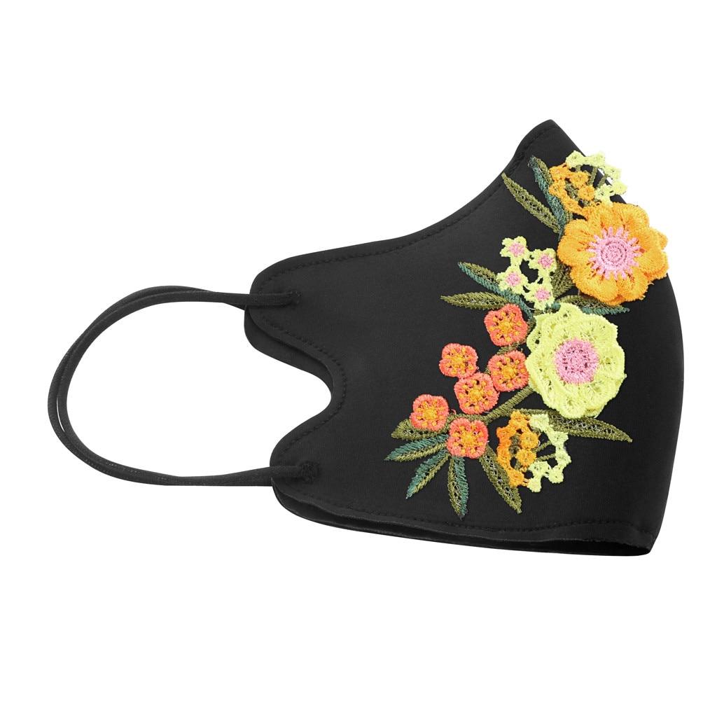 Haft Faceshield Unisex bawełniana maseczka do twarzy i wielokrotnego użytku PM2.5 tkanina Maske kwiatowa oddychająca magiczna Bandana