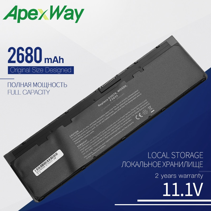 Apexway 11.1V Bateria Do Portátil para DELL Latitude 12 7000 E7240 E7250 0WD52H 0KWFFN KWFFN 0VFV59 J31N7 PT1 3 X01 3100mah Células