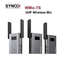 Synco wmic-ts mini sistema de transmissor sem fio do microfone da lapela da frequência ultraelevada 150m canal duplo para o registro da câmera do smartphone