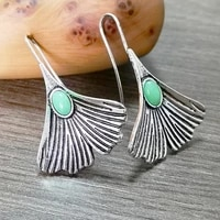 hot sale vintage silver plated leaf emerald earrings european and american fashion female green chalcedony woman jewelry