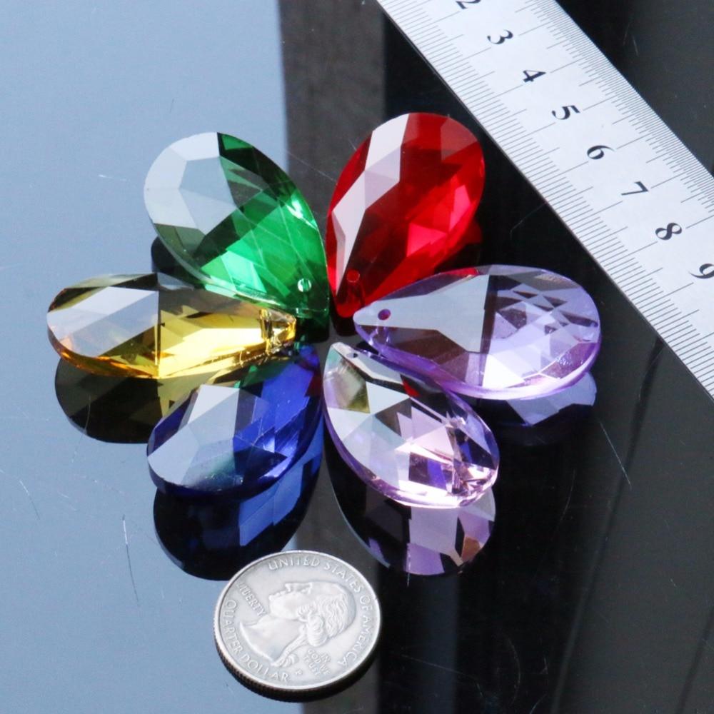 6 unids/lote seis colores de agua de lluvia gota de lágrima colgante de 38mm de cristal Prisma de cristal Diy lámpara Suncatcher cristal hecho a mano piezas