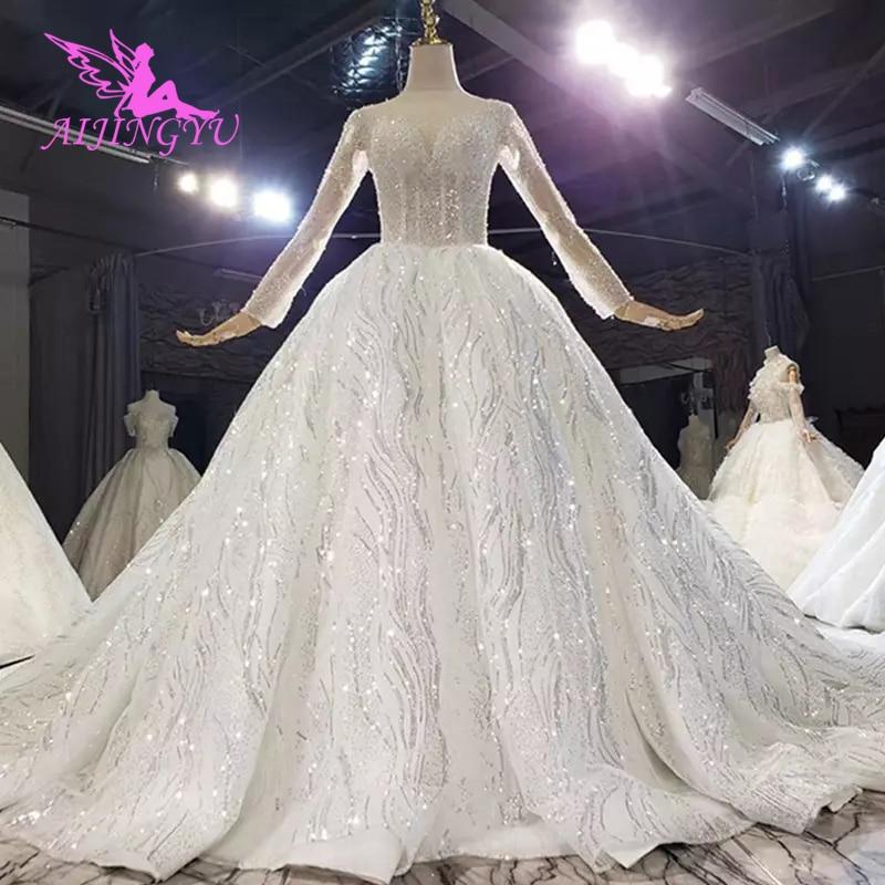 AIJINGYU-فستان زفاف فاخر للنساء ، فستان زفاف فاخر مع انتفاخات ، متوفر بأحجام كبيرة 2021