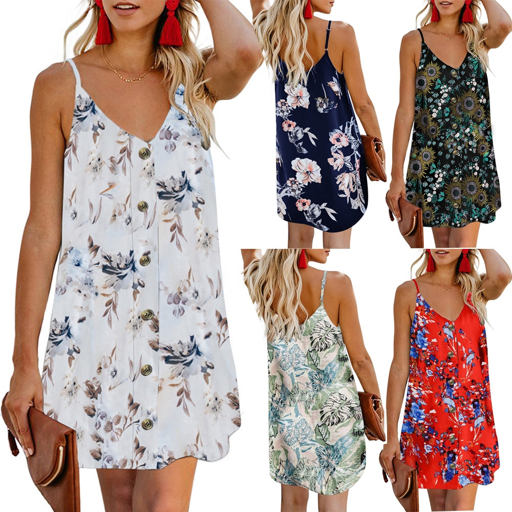 New Dress Women  Sleeveless Printing Party S-3XL Plus Size Street Leisure Beach Sexy for