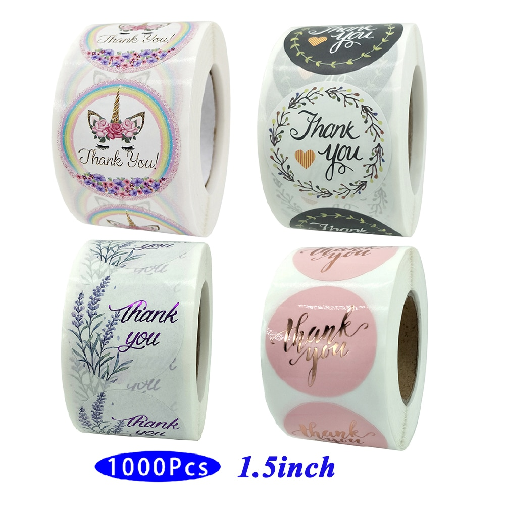 1.5'' 1000Pcs/Pack Roll Vintage Cute Kawaii Thank You Assorted Stickers Aesthetic Post Scrapbook Seal Adhesive Label Stationery