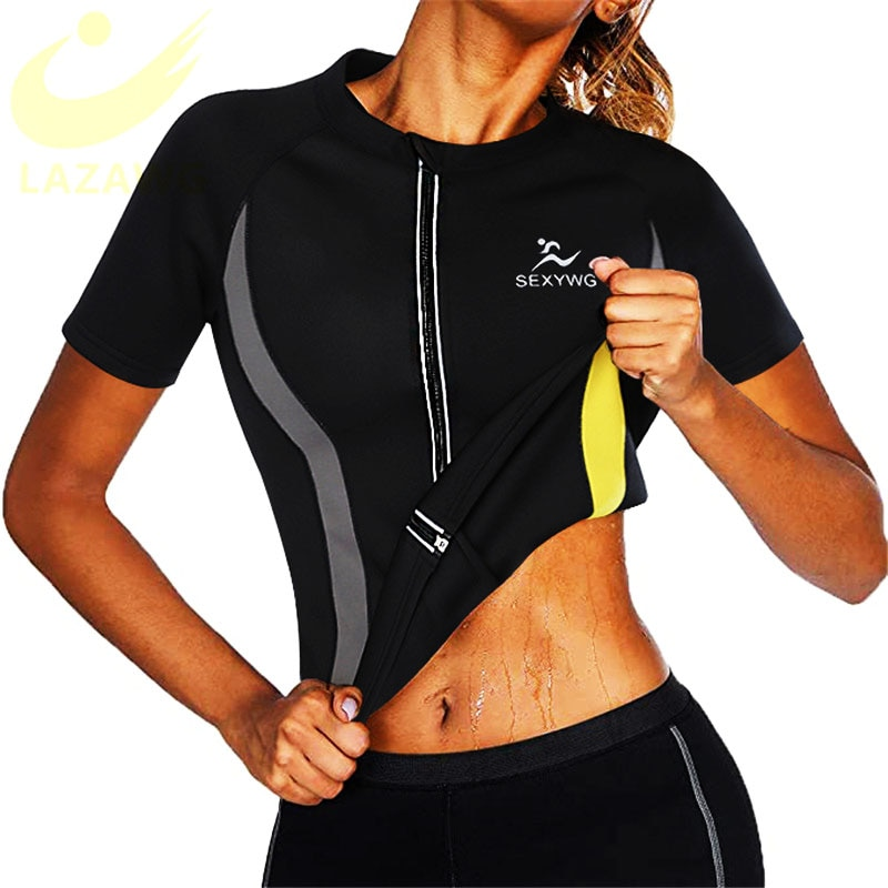 LAZAWG mujeres caliente Chaleco de neopreno sudoración adelgazante Top manga corta ejercicio termo Top Sauna sudor camisa grasa quema Tops pérdida de peso