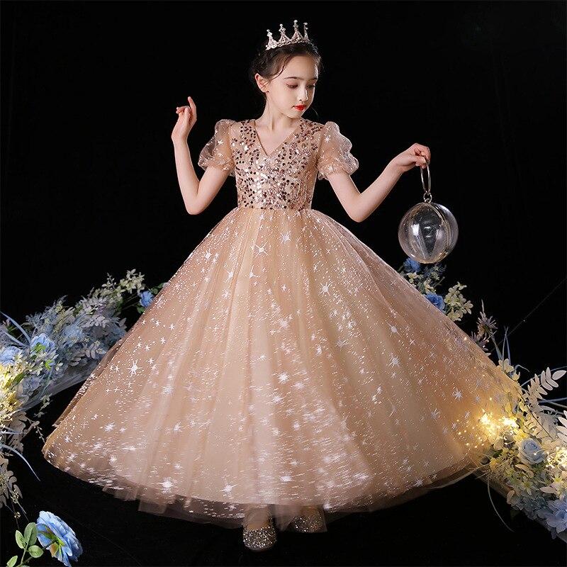 فستان زفاف للأطفال للبنات فساتين أميرة تول للمراهقين عرض زفاف رسمي حفلة مهرجان الكرة ثوب الأطفال ستار الترتر رداء