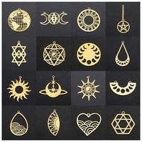 5pcs stainless steel moon sun star of david pendants charms connectors for diy necklace bracelet earring dangles jewelry making