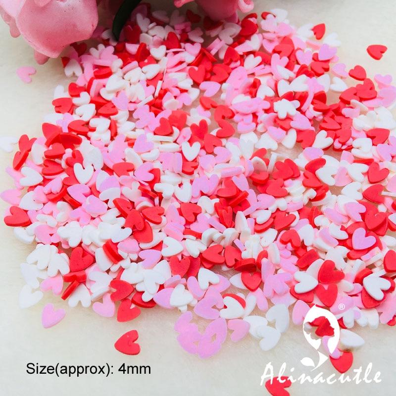 20g 4mm mix cor coração fatias para slime suprimentos unhas arte polímero limpar argila acessórios diy lantejoulas scrapbook shakes