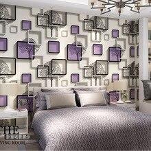 3D tridimensionnel carré treillis abstrait noir et blanc branches chambre salon TV fond mur papier peint bleu