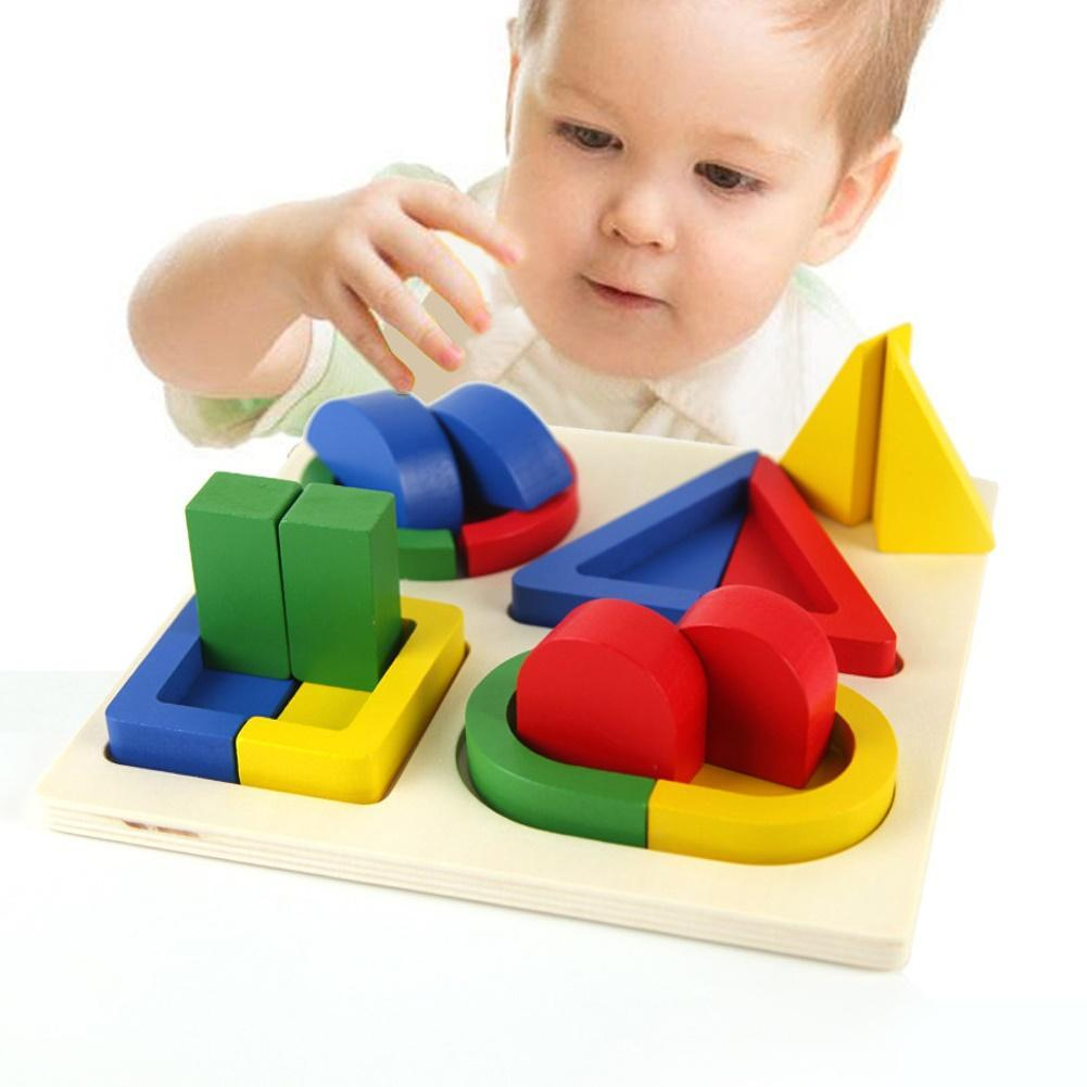 Kids Wooden Geometric Blocks Shape Color Match Puzzle Game Fun Children Early Educational Cognition Toy