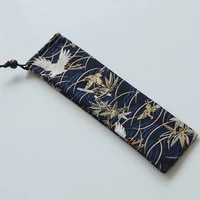 japan style cutlery bag reusable travel drawstring pouch for kitchen tableware fork spoon bamboo chopsticks cleaning brush