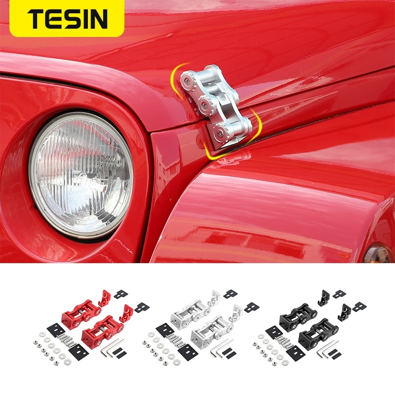 TESIN Car Exterior Lock Hood Latch Catch Decoration Engine Cover Protect Accessories for Jeep Wrangler JK 2007-2017 Car Stying