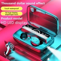 tws bluetooth earphone 5 0 wireless earphone led display waterproof touch control headphones 9d bass stereo with charging case