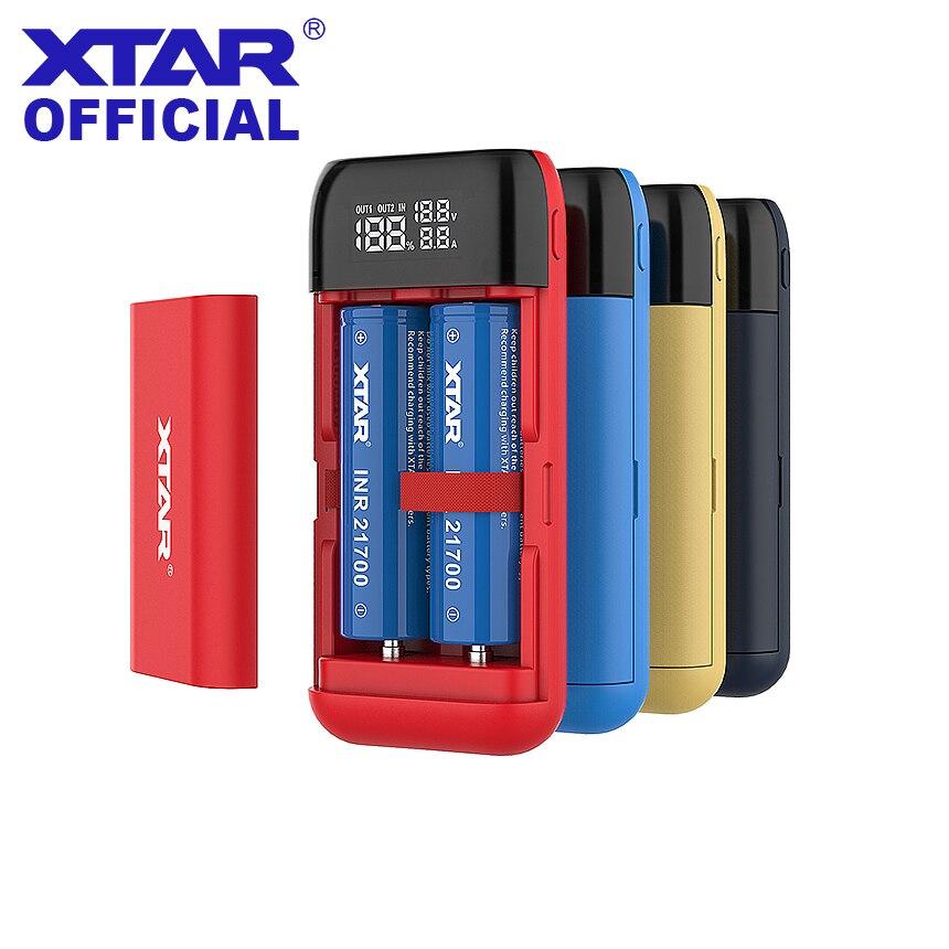 XTAR chargeur de batterie externe PB2S noir rouge bleu entrée TypeC QC3.0 USB LCD chargeur rapide pour 18700 20700 21700 18650 chargeur de batterie