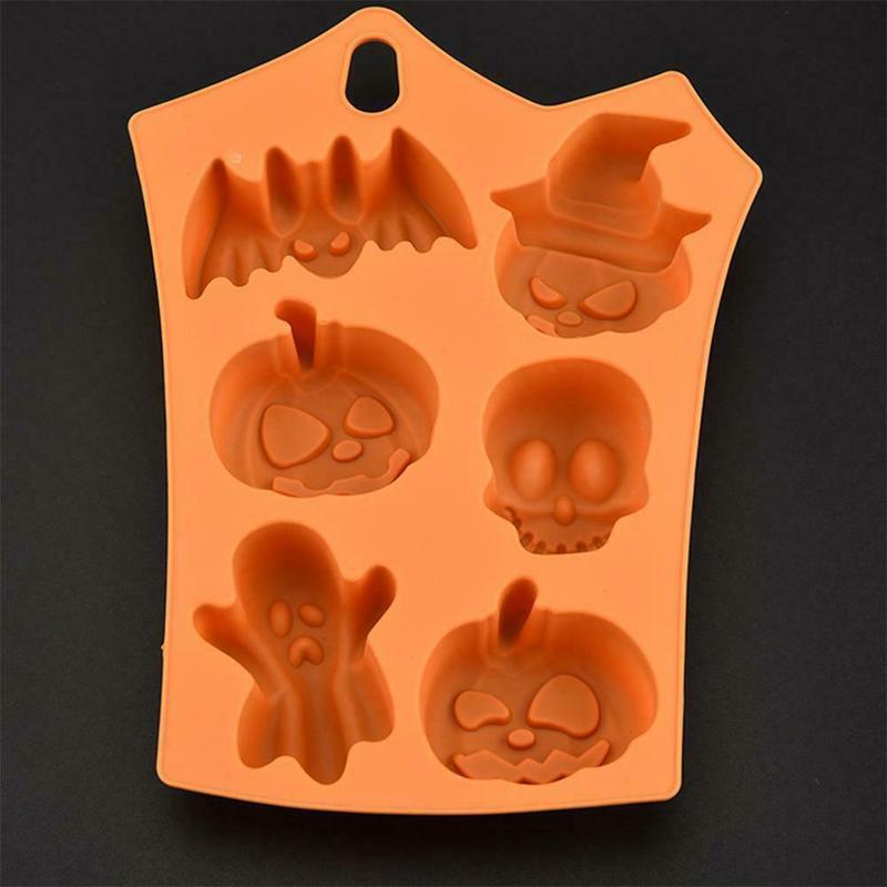 1pc Halloween Silicone Mold Skull Pumpkin Bat Cake Decorating Tools Fondant Mold Chocolate Forms Ice Cube Ice Mold Soap