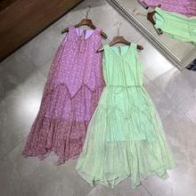 2020 été femmes imprimé fleuri sans manches ceinture longue robe de haute qualité vert clair/violet clair ample soie offre spéciale robes
