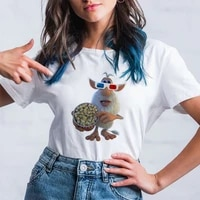 2021 new arrivals women t shirt cartoon white haired mouse watch movie printed t shirts modern comfortable family look tshirt