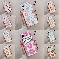 girly cute donut cake phone case transparent for vivo s 9 7 6 iqoo neo 7 5 3 z3 z1 x e pro soft tpu clear mobile bags