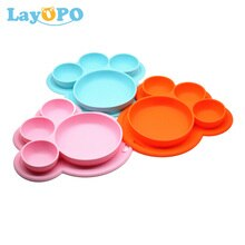 Plato de silicona con forma de pata de oso para niños, tazón con ventosa, vajilla de aprendizaje para comer, tazón de entrenamiento bonito
