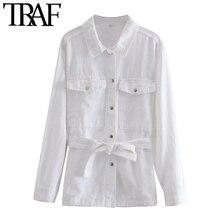 TRAF veste en Denim pour femmes, veste en Denim effiloché ample, Vintage à manches longues, poches, hauts chics, à la mode, vêtements de dessus pour femmes
