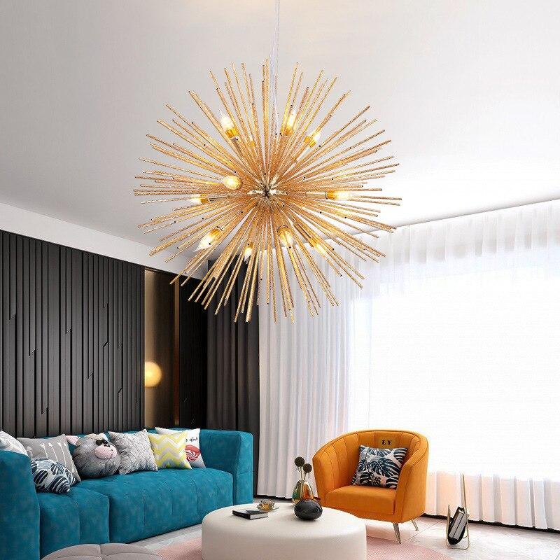 Candelabro LED postmoderno para sala de estar, dormitorio, cocina, pasillo, salón, bar, decoración de metal, E14