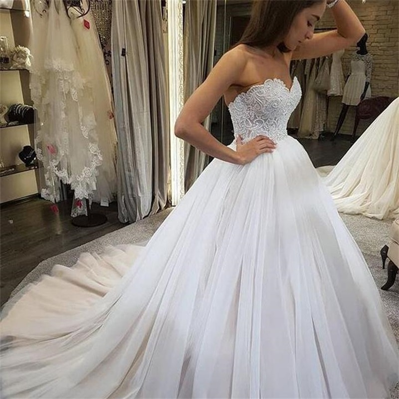 Vestido de noiva com renda de pérola, vestido de baile para casamento frente única, de tule, robe de marieve 2020