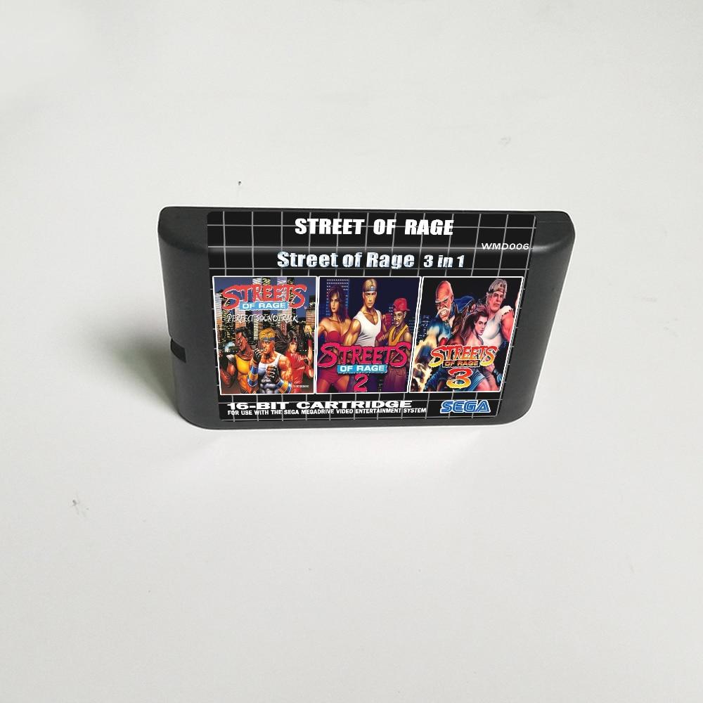 Игровая карта Street of Rage 3 в 1 (Street of Rage 1 2 3) - 16 бит MD для видеоигровой консоли Sega Megadrive Genesis