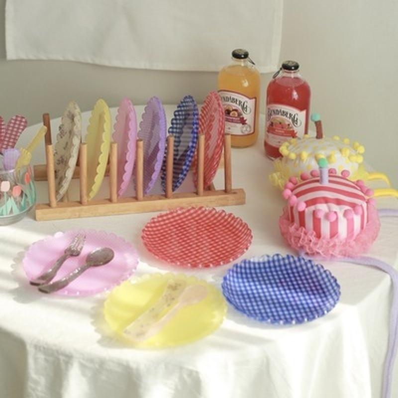 Retro Plaid Plates Floral Printed Plastic Dessert Tray Decorative Cake Fruit Plate Wedding Birthday Party Decor Photo Props