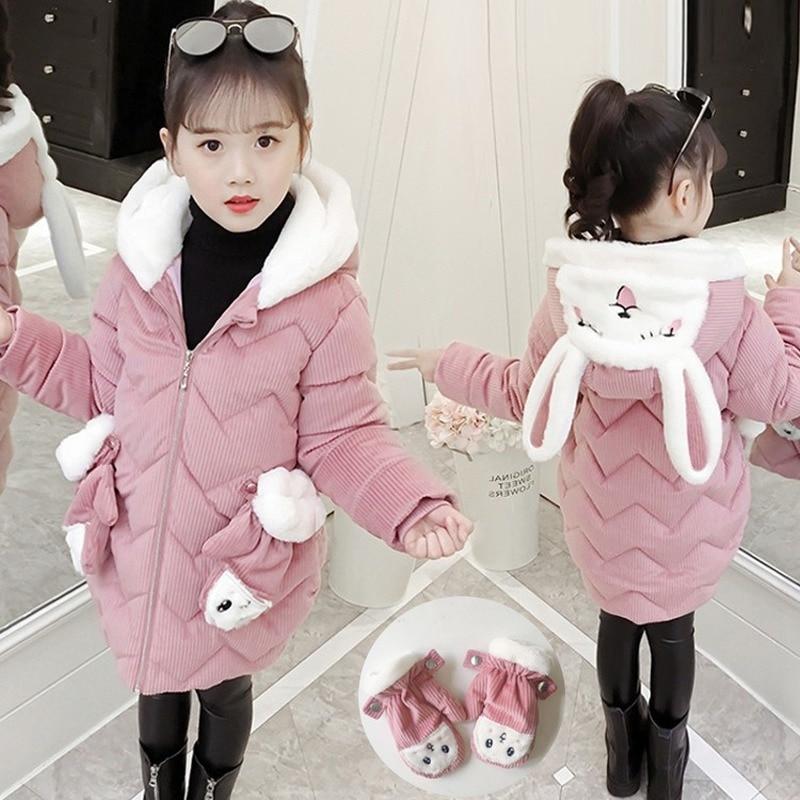 Winter Cute Rabbit Baby Girls Jacket Thick Cotton-Padded Baby Outerwear With Gloves Children Girls Parka Toddler Kids Snow Wear