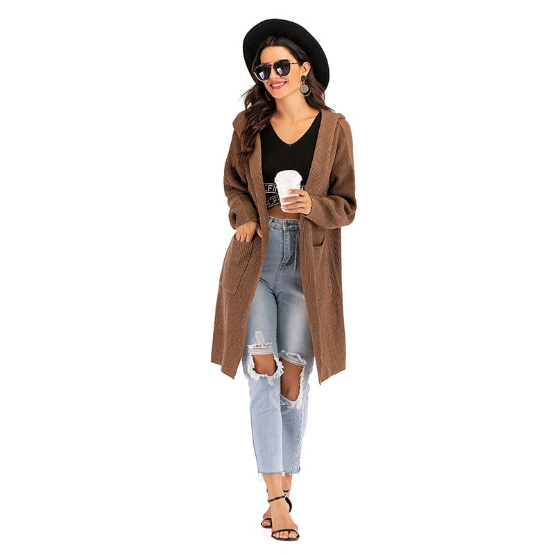 2021 Spring Autumn Loose Women Cardigan Thin Knit Long Sweater Coat Woman Hooded Vintage Long Sleeve Jumpers Female enlarge