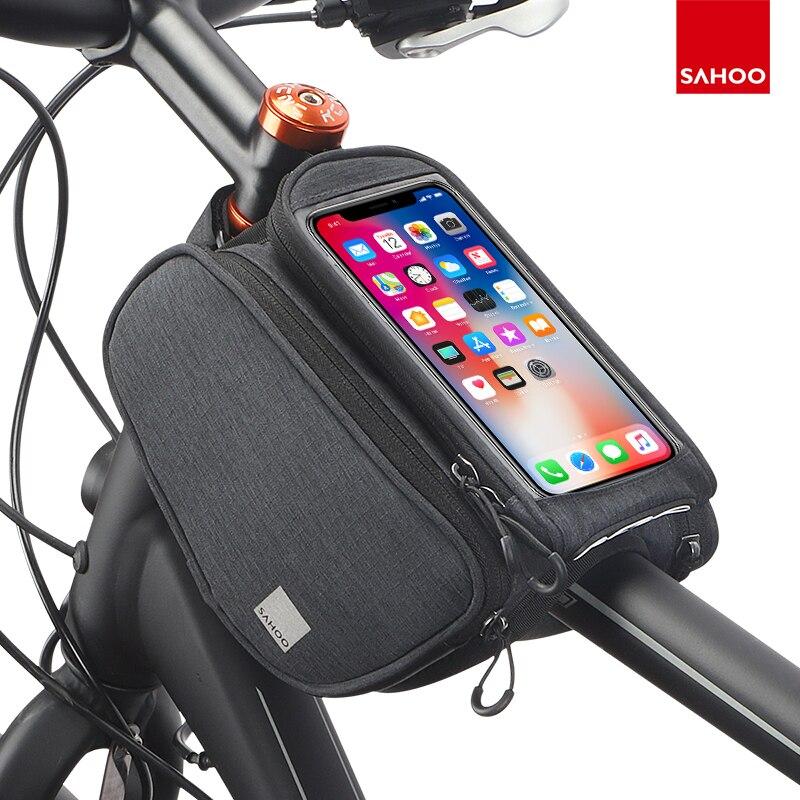 Sahoo 121462-SA pantalla táctil bicicleta 6,5 pulgadas para móvil Bolsa De Teléfono parte superior del marco frontal tubo de bicicleta bolsa de doble alforja
