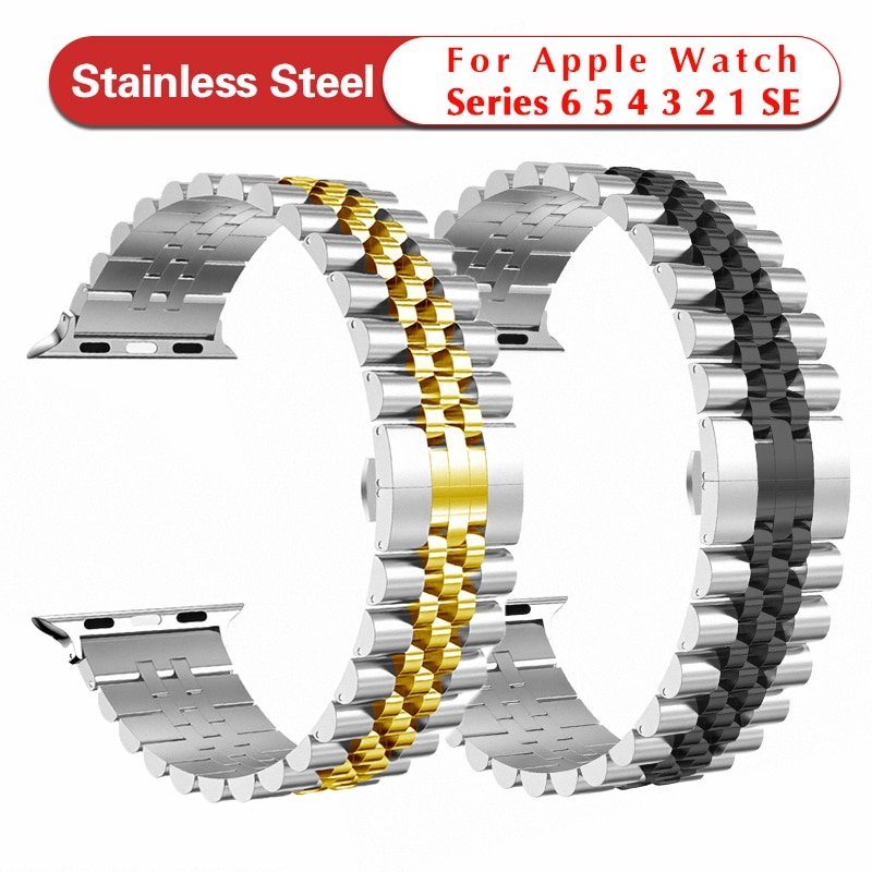 for apple watch band 6 se 5 4 38 42mm stainless steel strap for iwatch loop 40 44mm for apple bands 3 2 1 sport watches bracelet Metal Replacement Band For Apple Watch Band 6 SE 5 4 3 40mm 44mm Stainless Steel strap 38mm 42mm Sport Bracelet for iWatch 6 5