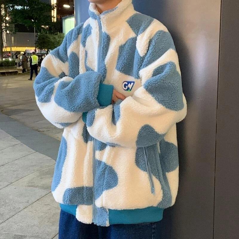 Lamb velvet jacket male Korean version of Harajuku trend winter thickening couple wear streetwear youth sweatshirt