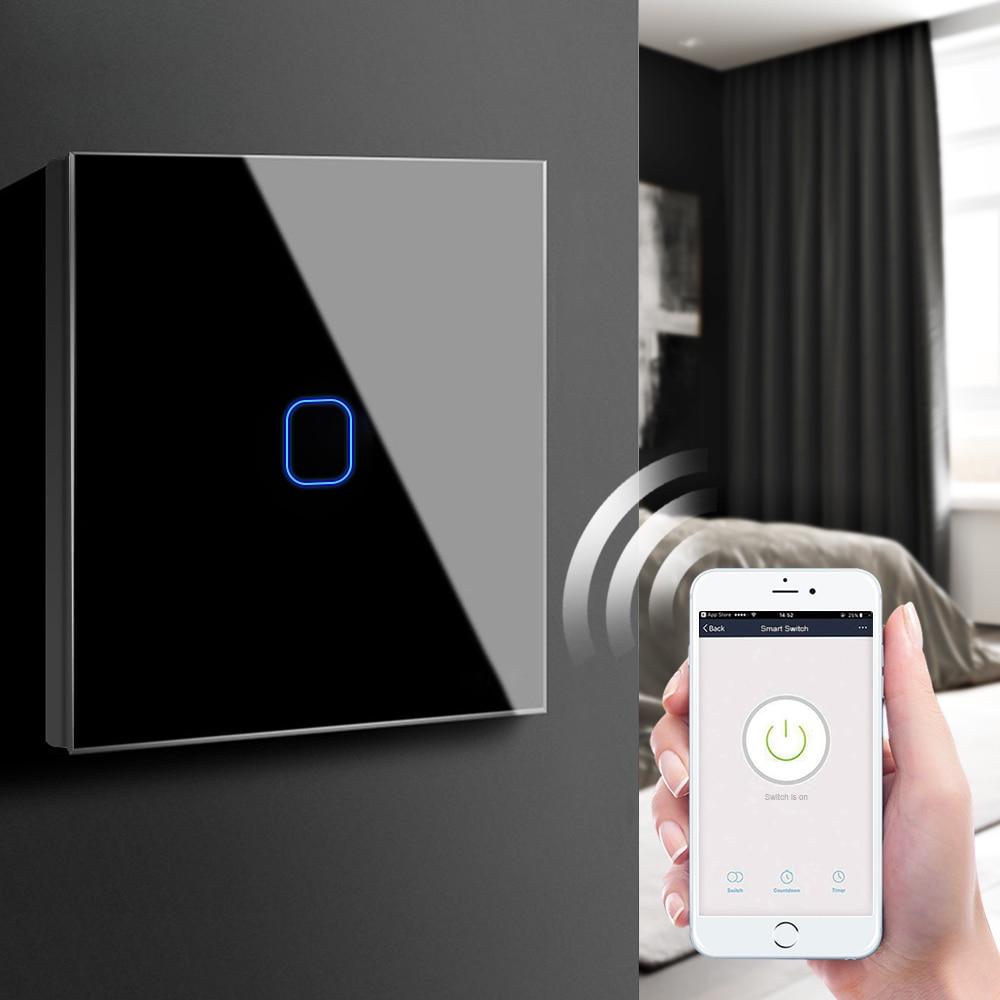Interruptor inteligente con WIFI, 2,4G inteligente con enchufe de pared, enchufe de pared con WiFi y Control táctil para Google Home, Amazon y Alexa