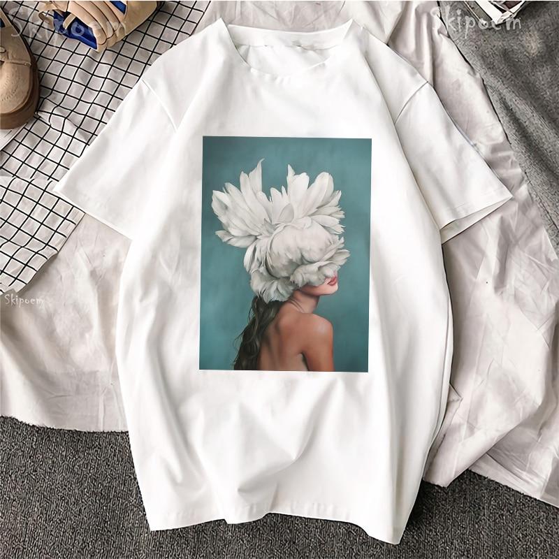 Fashion Short-sleeved Harajuku Beautiful T-shirt Sexy Flower Feather Print Short-sleeved T-shirt Fashion Casual Couple Shirt
