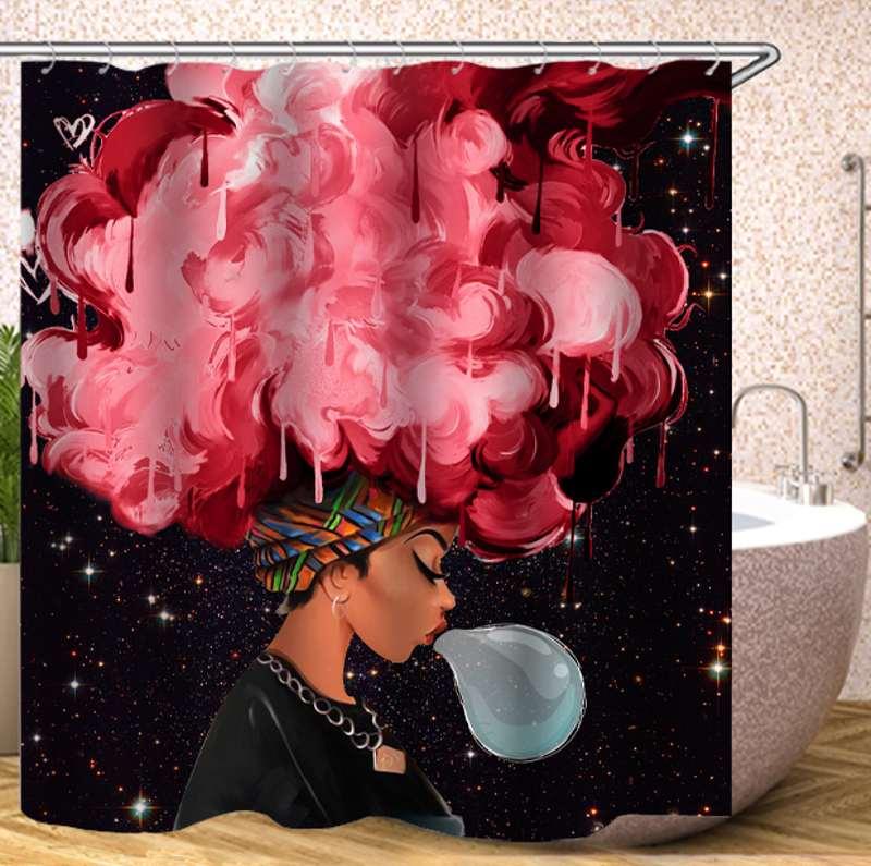 4 Uds. Conjunto de alfombrilla de baño para mujer africana de moda, tela para Cortina de ducha, alfombrilla para baño, alfombra, decoración del hogar