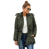 womens coat winter new cotton short in front and long in back hooded