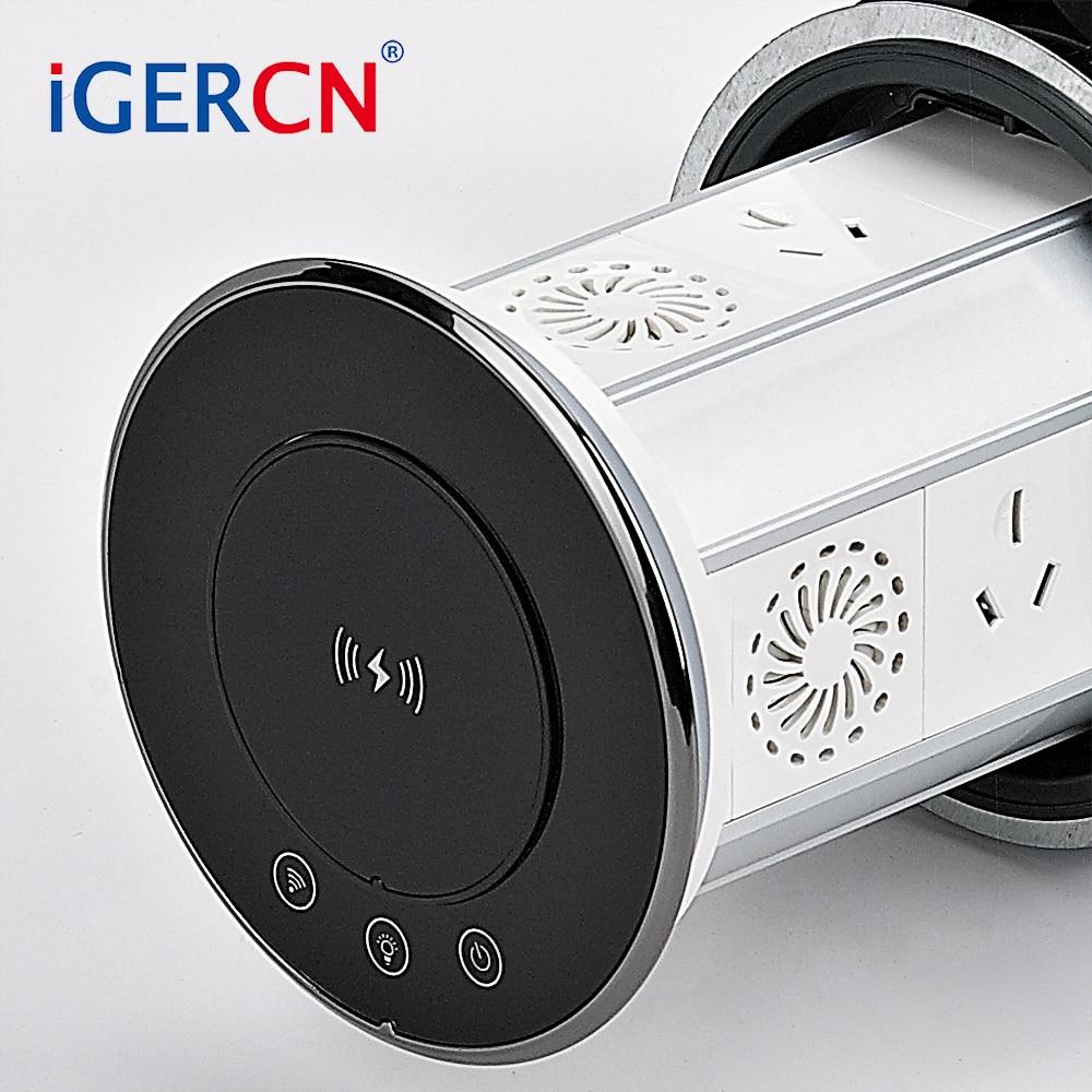 Bluetooth speaker charging wireless fast  pop up socket table wifi remote control 3 EU sockets  & double USB   smart home