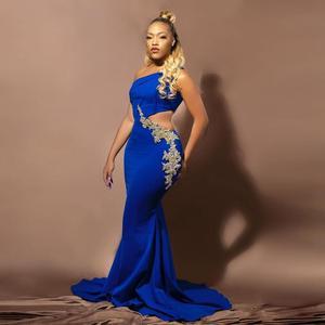 Elegant One Shoulder Royal Blue Mermaid Prom Dresses Gold Appliques Floor Length Prom Gowns Custom Made Formal Party Dress